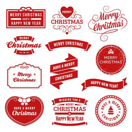 빨간 크리스마스 벡터 레이블 및 장식품의 컬렉션입니다. 솔리드 채우기 만 사용되었습니다.