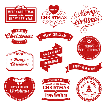 Collection of red christmas vector labels and ornaments. Only solid fills used. Illustration