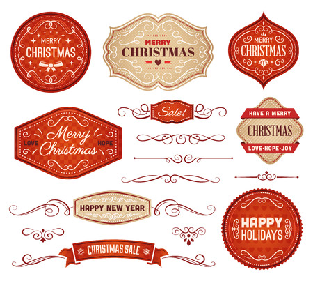 vector ornaments: Collection of red and beige christmas vector labels and ornaments.