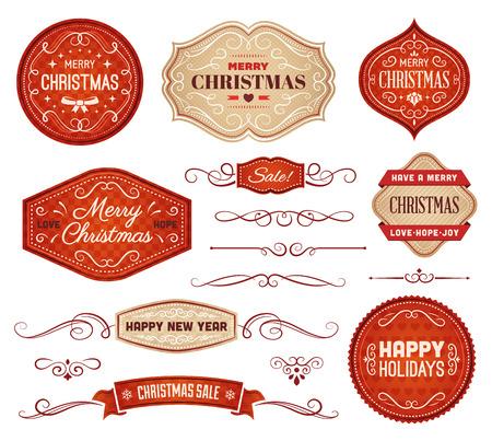 Verzameling van rode en beige Kerst vector labels en ornamenten. Stock Illustratie
