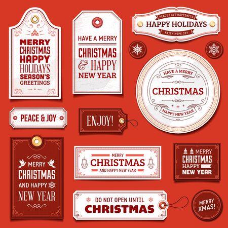 흰색과 빨간색 크리스마스 벡터 레이블 및 장식품의 컬렉션입니다.