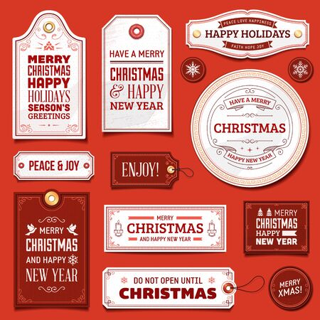 old fashioned christmas: Collection of white and red christmas vector labels and ornaments.