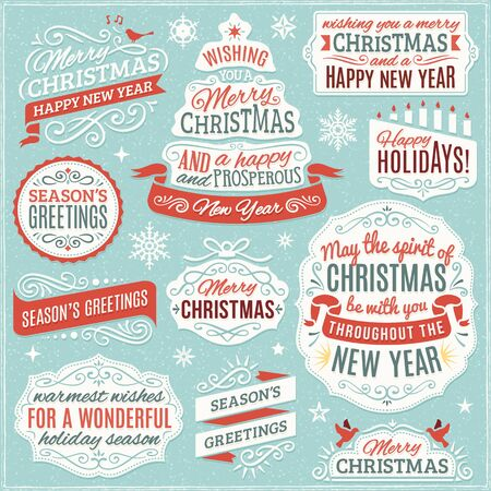 Large collection of christmas ornaments, labels and ribbons. Only solid fills used. File format is EPS8. 版權商用圖片 - 47463401