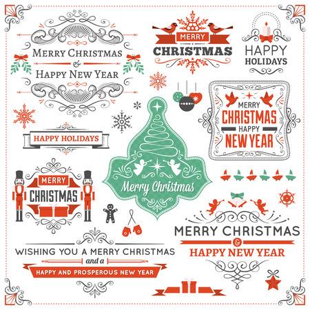 크리스마스 장식품, 리본, 장식 및 눈송이의 큰 컬렉션입니다. 만 고체 채우기를 사용합니다. 투명도 또는 다른 효과. 일러스트