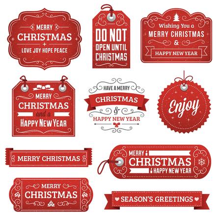 moños navideños: Colección de vectores de color rojo navidad etiquetas, cintas y adornos.