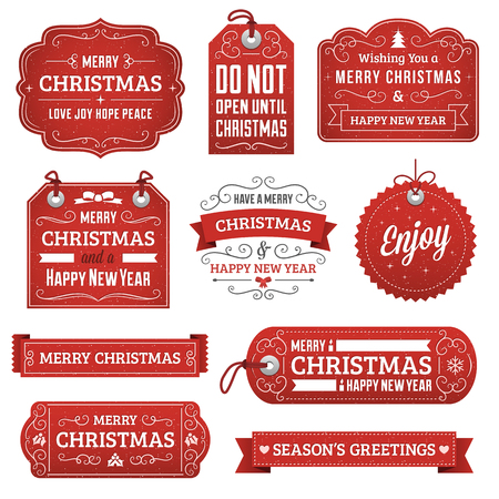 red christmas ball: Collection of red vector christmas labels, ribbons and ornaments.