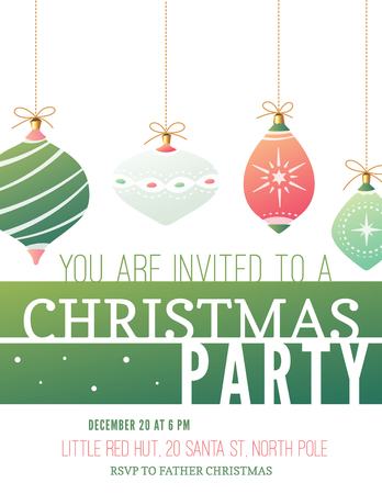 Elegant christmas party invitation in US letter format. The fonts are called League Gothic, Copse and Ostrich Sans.