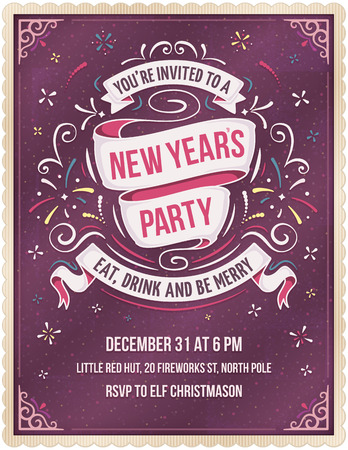 Purple New Year's party invitation with colorful stars, fireworks and elegant white ribbons. Add your own text at the bottom. The fonts are called Bebas Neue and Yanone Kaffeesatz.