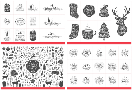 Huge collection of Christmas ornaments, flowers, gifts, trees and much more. Hand lettered Christmas greetings, words and quotes also included. Иллюстрация