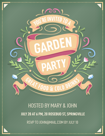 Elegant and colorful invitation for a summer, spring or garden party, with bright ribbons and flowers on a dark green background. The fonts are called