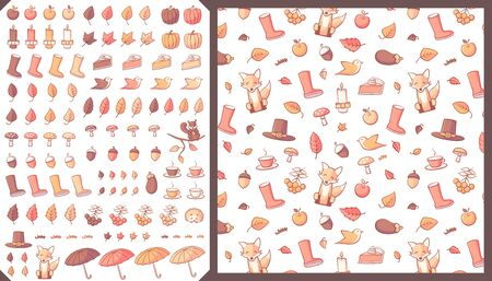 Collection of autumn related objects such as leaves, pumpkins, umbrellas, acorns and mushrooms. A seamless pattern swatch is also included in the vector file. Иллюстрация