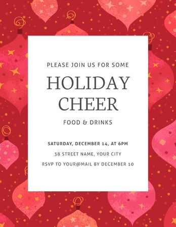 Elegant invitation template for a christmas party. Warm red, orange and pink colors. The fonts are called Neuton and Aller.