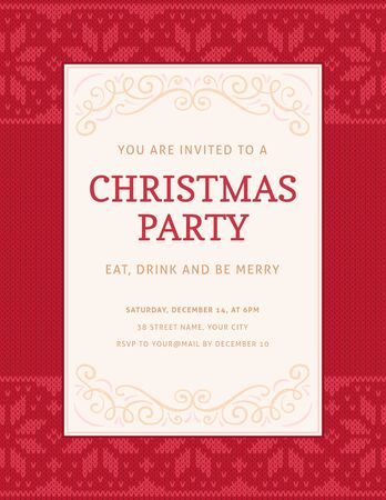 Elegant christmas party invitation template with a decorated white label on a red knitted christmas pattern. The fonts are called Copse and Aller.