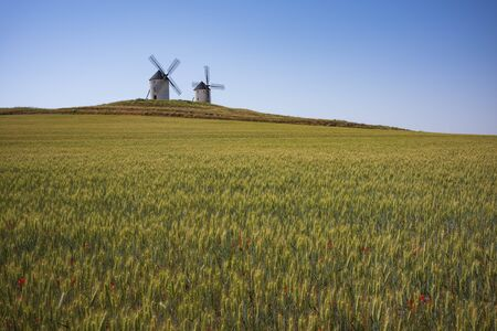 The windmills of Tembleque, Spain, photographed, June 23, 2018.
