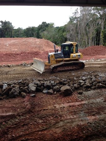 constrution site: Bulldozer at a constrution site working