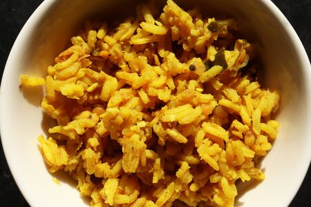 Photography of a bowl of cooked rice for food background