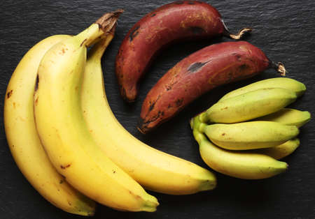 Photography of three varieties of bananas on slate background for food illustrations