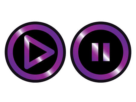 violet black play pause set button icon vector Vettoriali