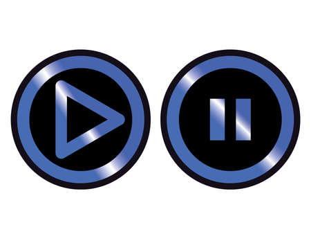 blue black play pause set button icon vector Vettoriali