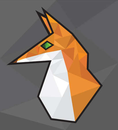 fox polygon poly art head bust