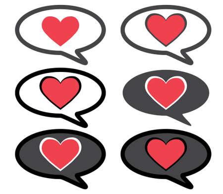 Heart in speech bubble chat love message