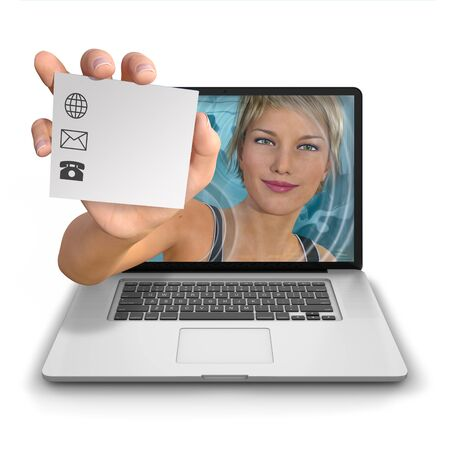 contact details: Young womans hand reach out from inside a laptop computer holding a contact card with a logo with space for adding contact details, web address, email and phone number. Photorealistic 3D rendered image isolated against a pure white background