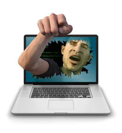 Internet Troll, Hacker or Cyber Criminal smashing through a laptop screen and menacingly pointing at the user and laughing. Photorealistic 3D render isolated against a clean white background Stock Photo