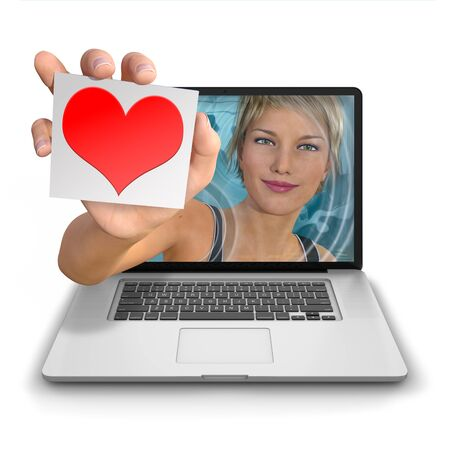 reach out: Young womans hand reach out from inside a laptop computer holding a card with a red heart logo with space for overlaying text. Photorealistic 3D rendered image isolated against a pure white background Stock Photo