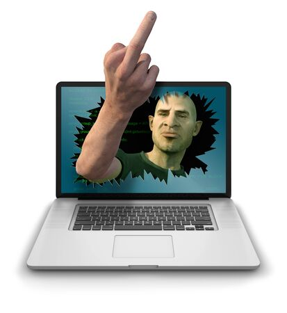 harass: Internet Troll, Hacker or Cyber Criminal smashing through laptop screen and mockingly abusing the user by giving The Finger gesture. Photorealistic 3D render isolated against a clean white background