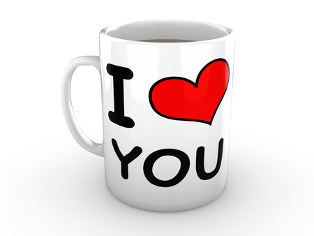 White Mug isolated against a white background. Mug is printed with the words I Love You and features a big red heart