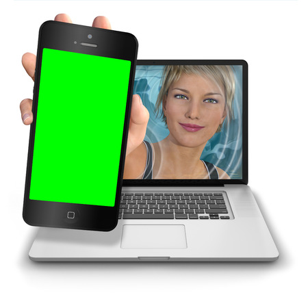 reach out: Young womans hand reach out from inside a laptop computer to show a iphone style mobile phone with green screen for keying any image. Photorealistic 3D rendered image isolated against a pure white background