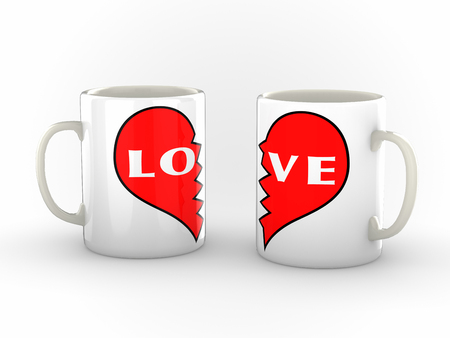 heartbreak issues: Two white coffee mugs with a broken heart logo pushed apart  showing the word love split from the other with a broken heart logo in red. Isolated against a clean white background