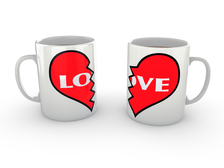 heartbreak issues: Two white coffee mugs with a heart logo pushed close together spelling love. Isolated against a pure white background with a broken heart logo pushed apart  showing love split from the other. Isolated against a pure white background