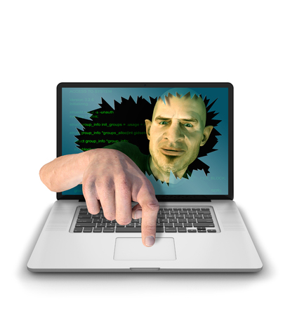 trolling: Internet Troll, Hacker or Cyber Criminal smashing through laptop screen and mockingly reaches through broken screeen and looks to take control of the computer. Photorealistic 3D render isolated against a clean white background