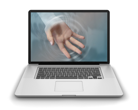 reach out: Helping hand reaches through laptop computers screen to offer help and assistance to its user. Photorealistic 3D render, isolated against a pure white  background