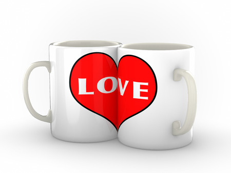 pushed: Two white coffee or tea mugs pushed close together making a big red heart logo with word Love . Isolated imagae against a clean white background