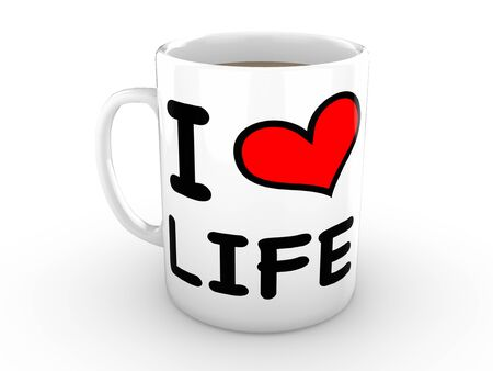 love life: White mug isolated against a pure white background with an I Love Life logo featuring a bright red heart Stock Photo