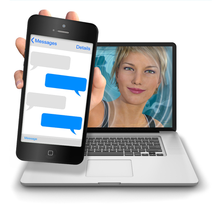 reach out: Young womans hand reach out from inside a laptop computer to show a iphone style mobile phone with blank text message balloons. Photorealistic 3D rendered image isolated against a pure white background
