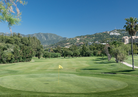 Golf course in Marbella, costa del Sol, Spain with La Concha Mountain in the background Banco de Imagens