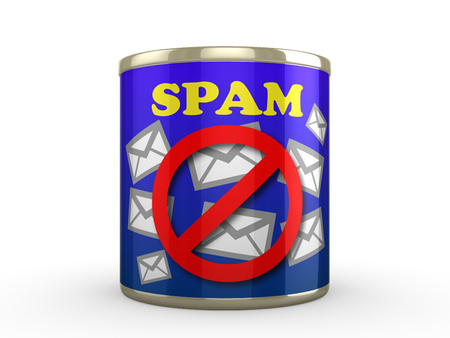 Tin cna with a label to represent No Spam Junk Emails Zdjęcie Seryjne