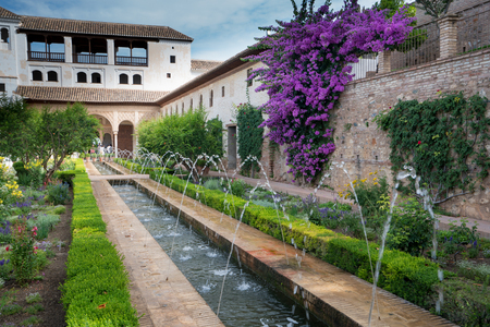 Fountains and bougainvillea growing in the gradens of the Alhambra Palace and fortress located in, Granada, Andalusia, Spain. Publikacyjne