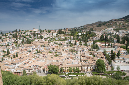 View of Granada Old Town from the Alhambra Palace and fortress located in, Granada, Andalusia, Spain. Zdjęcie Seryjne