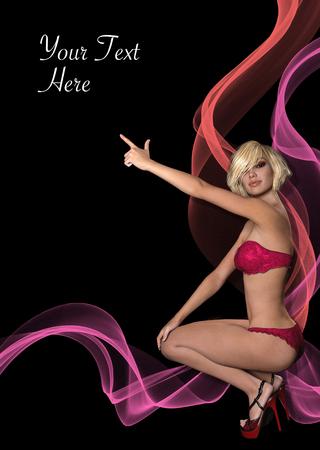 Prospekt, Poster oder Flyer mit 3D-gerenderten fotorealistischen Mädchen zeigt auf copyspace Standard-Bild - 81382042
