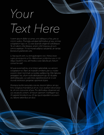 Leaflet, poster or flyer with black background and coloured swirls surrounding copyspace
