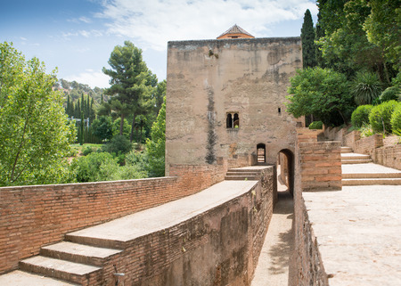 Ancient buildings and fortifications within the grounds of the Alhambra Palace and fortress located in, Granada, Andalusia, Spain.