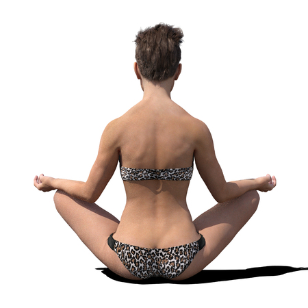 photorealistic: Young woman or girl stting cross-legged whilst meditating and wearing a bikini. Isolated against a white background. Photorealistic 3D render. Stock Photo