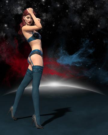 Broschüren-, Plakat- oder Fliegerhintergrund mit sexy 3d übertrug Mädchen in der Unterwäsche, die gegen einen Stern, Sciencefictionshintergrund eingestellt wurde Standard-Bild - 81382095
