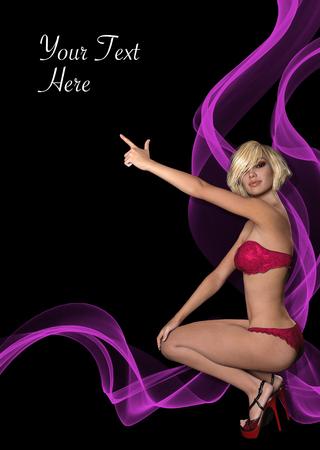 Prospekt, Poster oder Flyer mit 3D-gerenderten fotorealistischen Mädchen zeigt auf copyspace Standard-Bild - 81381884
