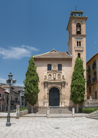 Santa Maria Cathedral and historic chapel area, known locally as the Capilla Real (Royal Chapel) near to the Alhambra Palace and fortress located in, Granada, Andalusia, Spain.