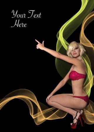 Prospekt, Poster oder Flyer mit 3D-gerenderten fotorealistischen Mädchen zeigt auf copyspace Standard-Bild - 81381927